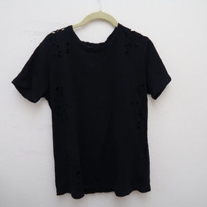 Honey Punch Black Short Sleeve Ripped Style Tee